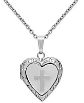 46ce6b3c22d Children s Mother of Pearl Cross and Heart Locket in Sterling Silver (1 5 ct