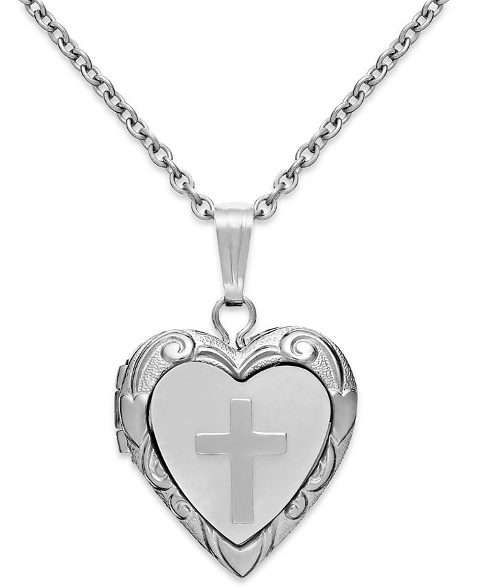 Macy's - Mother of Pearl Cross and Heart Locket in Sterling Silver (1/5 ct. t.w.)