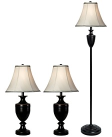 Multi-Pack Set: 2 Table Lamps and 1 Floor Lamp