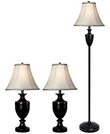 StyleCraft Multi-Pack Set: 2 Table Lamps and 1 Floor Lamp