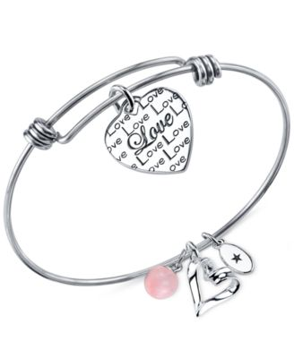 Image of Unwritten Love Charm and Rose Quartz (8mm) Bangle Bracelet in Stainless Steel