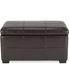 Bergen Faux Leather Storage Ottoman, Quick Ship