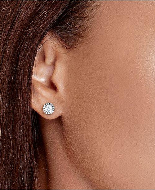 Macy S Diamond Round Halo Stud Earrings In 14k White Gold