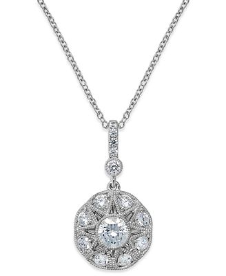 Antique Star by Marchesa Certified Diamond Icon Pendant Necklace in 18k White Gold (1-3/8 ct. t.w.)