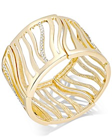 Gold-Tone Pavé Tiger Stretch Bracelet