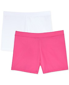 Playground Pals 2-Pack Solid Biker Shorts, Little Girls & Big Girls