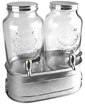 Artland Oasis Galvanized Tin Dual Beverage Dispenser Set