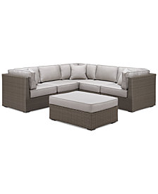 CLOSEOUT! South Harbor Outdoor 6-Pc. Modular Seating Set (3 Corner Units, 2 Armless Units and 1 Ottoman), Created for Macy's