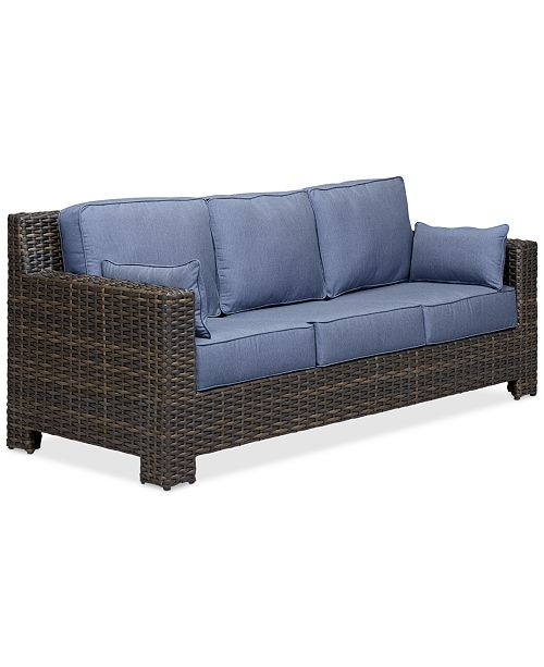 Furniture Viewport Wicker Outdoor Sofa with Sunbrella® Cushions, Created for Macy's