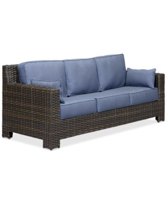 Perfect Viewport Wicker Outdoor Sofa With Sunbrella® Cushions, Created For Macyu0027s