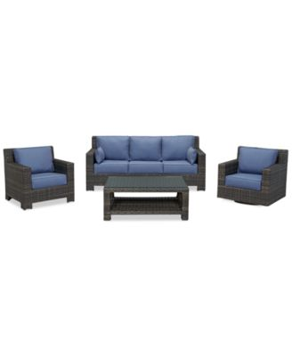 Viewport Outdoor Wicker 4-Pc. Seating Set (1 Sofa, 1 Club Chair, 1 Swivel Glider and 1 Coffee Table), Created for Macy's