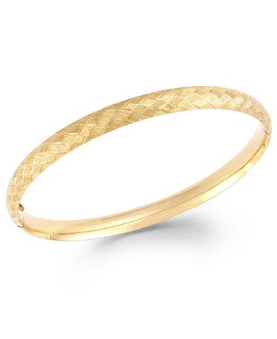 Cross Stitch Bangle Bracelet In 14k Gold Bracelets
