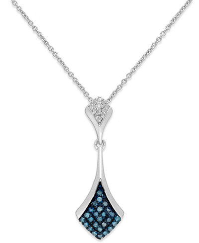 Blue and White Diamond Pendant Necklace in Sterling Silver (1/5 ct. t.w.)