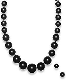 Graduated Onyx Bead Jewelry Set in Sterling Silver (345 ct. t.w.)