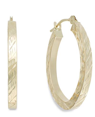 Textured Oval Hoop Earrings in 10k Gold, 16mm