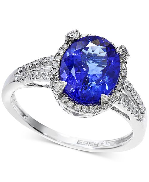 EFFY Collection EFFY® Tanzanite (2-5/8 ct. t.w.) and Diamond (1/4 ct. t.w.) Ring in 14k White Gold, Created for Macy's