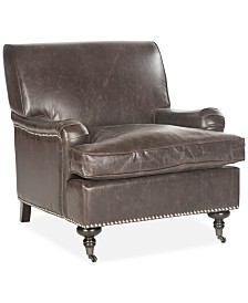 Auburn Faux Leather Accent Chair,  Quick Ship