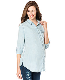 A Pea In The Pod Long-Sleeve Chambray Maternity Blouse, Light Wash Denim Wash