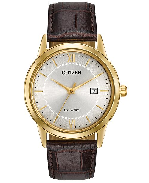 Citizen Men's Eco-Drive Brown Leather Strap Watch 40mm AW1232-04A