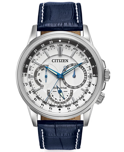 citizen men s eco drive calendrier blue leather strap watch 44mm citizen men s eco drive calendrier blue leather strap watch 44mm bu2020 02a