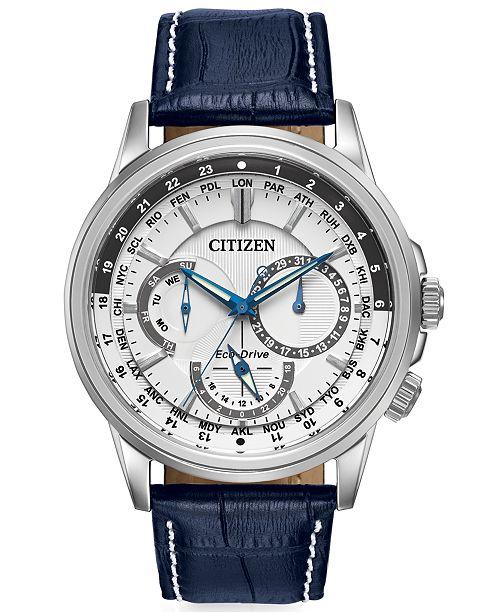 f850f537b09 ... Citizen Men s Eco-Drive Calendrier Blue Leather Strap Watch 44mm  BU2020- ...