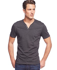Men's Stretch Solid, Henley T-Shirt, Created for Macy's