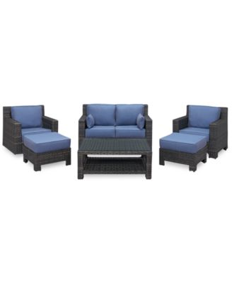 Viewport Outdoor Wicker 6-Pc. Seating Set (1 Loveseat, 1 Club Chair, 1 Swivel Glider, 2 Ottomans and 1 Coffee Table), Created for Macy's