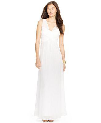 Lauren Ralph Lauren Ruched V-Neck Gown