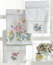 "Lenox ""Butterfly Meadow"" Embroidered Fingertip Towel, 11x18"""