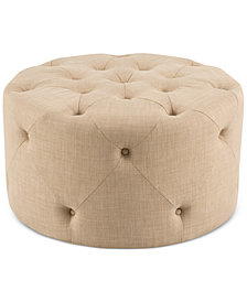 Dimitri Fabric Round Tufted Cocktail Ottoman, Quick Ship