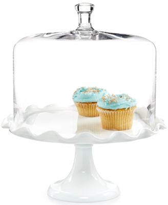 Milk Glass Ruffle Cake Stand with Dome