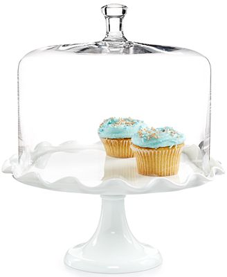 glass cake stand with dome martha stewart collection milk glass ruffle cake stand 4509