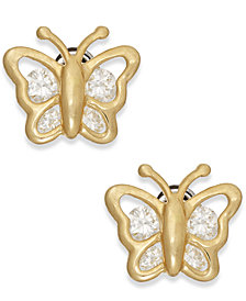 Cubic Zirconia Butterfly Stud Earrings in 10k Gold