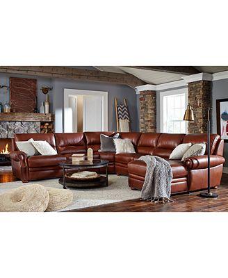 Royce Leather Sofa Living Room Furniture - Furniture - Macy\'s