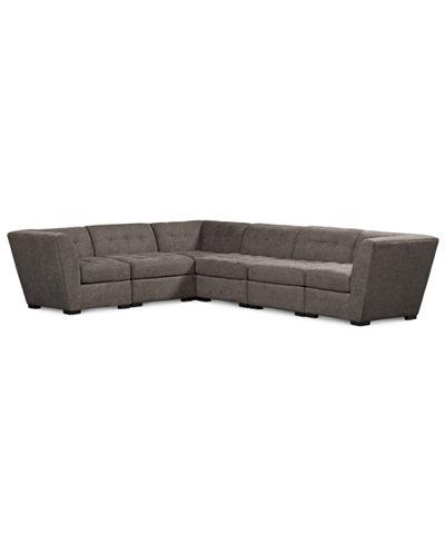 Roxanne fabric 6 piece modular sectional sofa created for for Roxanne sectional sofa macy s