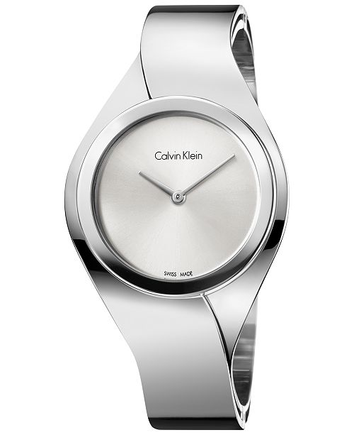 Calvin Klein Women's Swiss Senses Stainless Steel Bangle Bracelet Watch 43mm K5N2M126