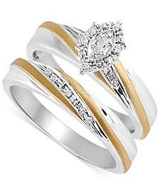 Beautiful Beginnings Diamond Accent Engagement Bridal Set in 14k Gold and Sterling Silver