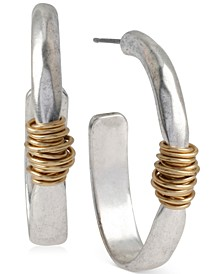Medium Two-Tone Wire-Wrapped Oval Hoop Earrings