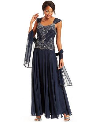 J Kara Beaded Bodice Chiffon Gown And Scarf Dresses