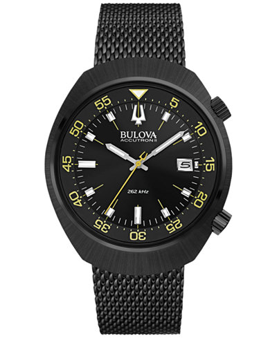 Bulova Accutron II Men's Black-Tone Stainless Steel Bracelet Watch 44mm 98B247