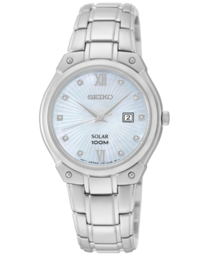 Seiko Women's Solar Diamond Accent Stainless Steel Bracelet Watch 30mm SUT213