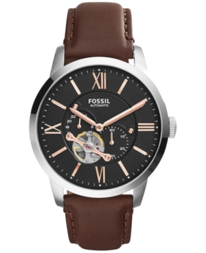 Fossil Men's Automatic Townsman Brown Leather Strap Watch 44