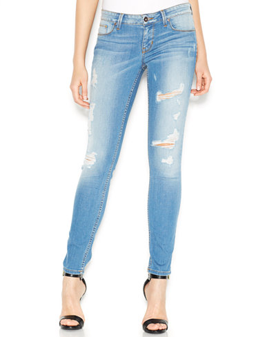 GUESS Power Low-Rise Distressed Skinny Jeans - Jeans - Women - Macy's