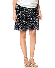 Motherhood Maternity High-Low Dot-Print Chiffon Skirt