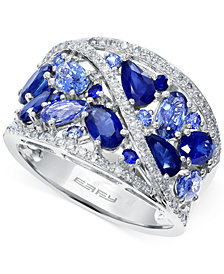 EFFY Sapphire (3-1/8 ct. t.w.) and Diamond (1/4 ct. t.w.) Ring in 14k White Gold, Created for Macy's