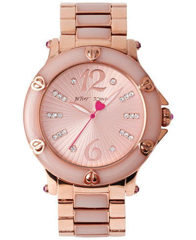 Betsey Johnson Women's Blush Epoxy and Rose Gold-Tone Stainless Steel Bracelet Watch 41mm BJ00459-04
