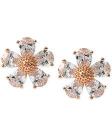 Betsey Johnson Gold-Tone Crystal Flower Stud Earrings