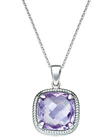 Pink Amethyst Twist Pendant Necklace in Sterling Silver (12 ct. t.w.)