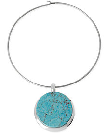Robert Lee Morris Soho Silver-Tone Semi-Precious Turquoise Pendant Wire Necklace