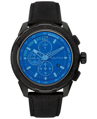 s chronograph black leather 48mm